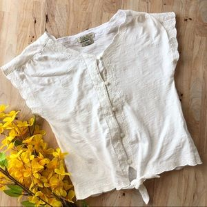 LUCKY BRAND White Embroidered Tie Top